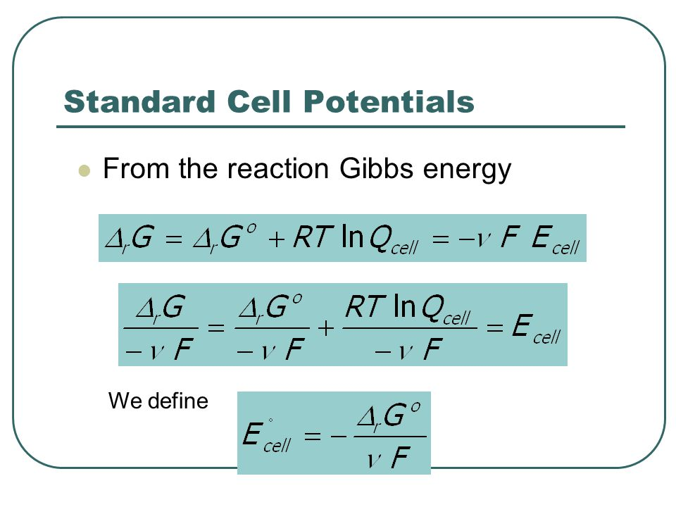 Standard Cell Potentials From the reaction Gibbs energy We define