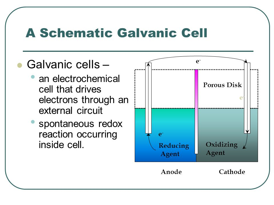Concentration Cells Electrolyte concentration cell the electrodes are identical; they simply differ in the concentration of electrolyte in the half- cells.