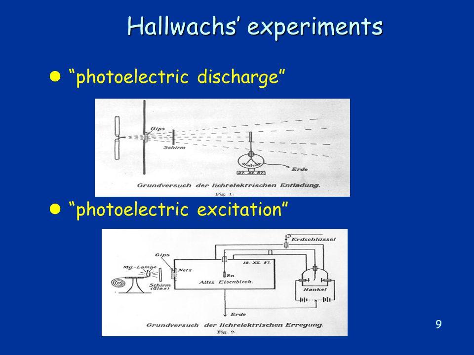 9 Hallwachs' experiments l photoelectric discharge l photoelectric excitation