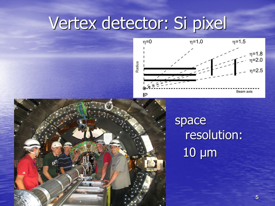 2015-5-4Guoming CHEN5 Vertex detector: Si pixel space resolution: 10 μm 10 μm