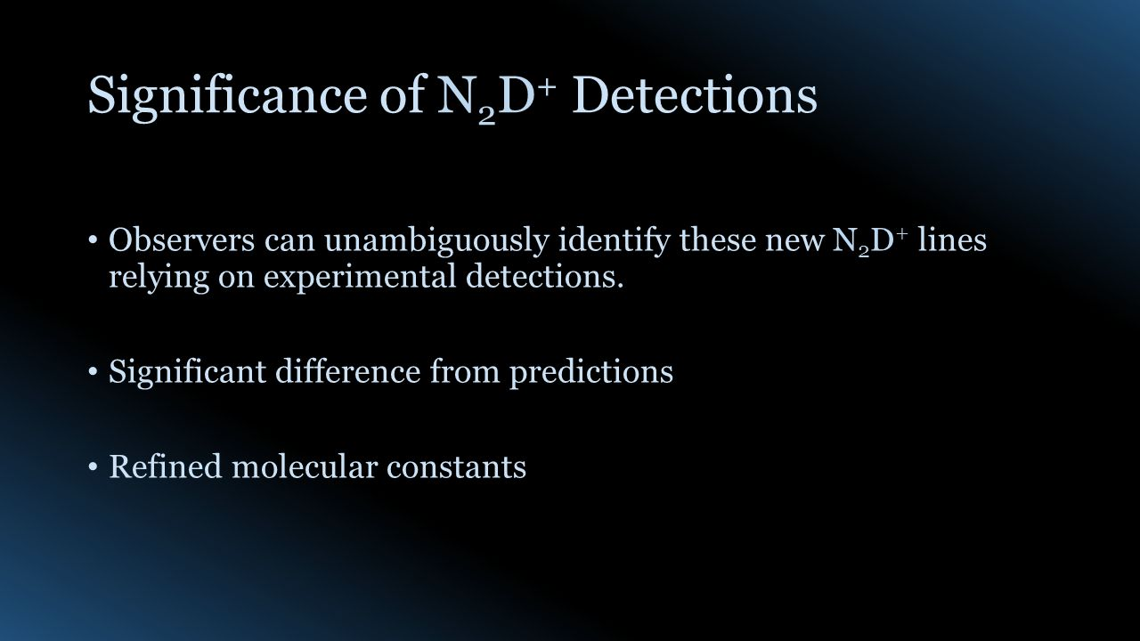 Significance of N 2 D + Detections Observers can unambiguously identify these new N 2 D + lines relying on experimental detections.