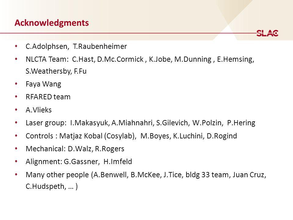 Acknowledgments C.Adolphsen, T.Raubenheimer NLCTA Team: C.Hast, D.Mc.Cormick, K.Jobe, M.Dunning, E.Hemsing, S.Weathersby, F.Fu Faya Wang RFARED team A.Vlieks Laser group: I.Makasyuk, A.Miahnahri, S.Gilevich, W.Polzin, P.Hering Controls : Matjaz Kobal (Cosylab), M.Boyes, K.Luchini, D.Rogind Mechanical: D.Walz, R.Rogers Alignment: G.Gassner, H.Imfeld Many other people (A.Benwell, B.McKee, J.Tice, bldg 33 team, Juan Cruz, C.Hudspeth, … )