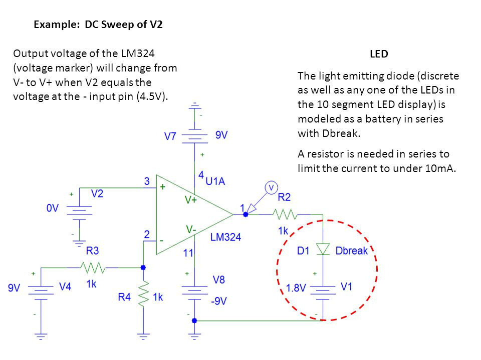 Example: DC Sweep of V2 Output voltage of the LM324 (voltage marker) will change from V- to V+ when V2 equals the voltage at the - input pin (4.5V).