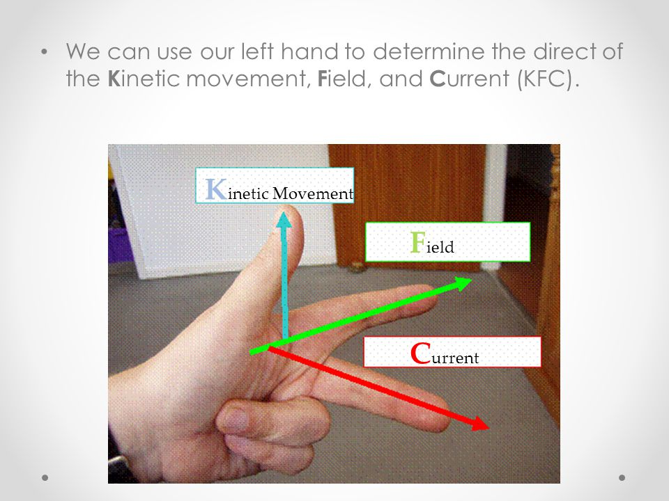We can use our left hand to determine the direct of the K inetic movement, F ield, and C urrent (KFC). K inetic Movement F ield C urrent