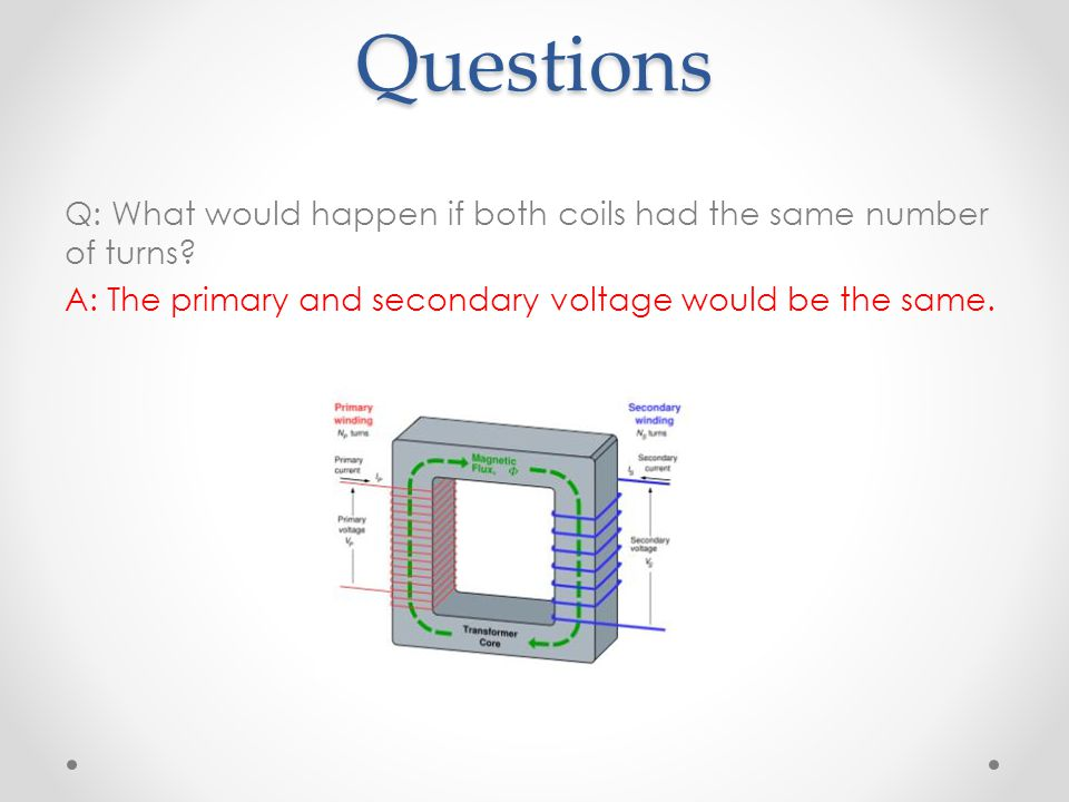 Questions Q: What would happen if both coils had the same number of turns? A: The primary and secondary voltage would be the same.