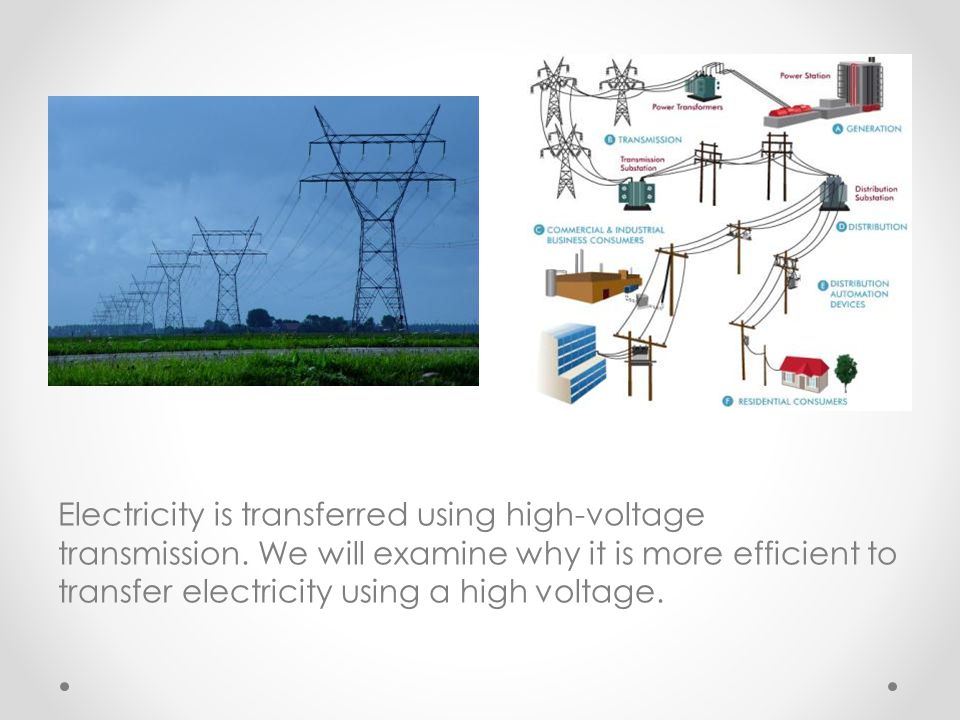 Electricity is transferred using high-voltage transmission. We will examine why it is more efficient to transfer electricity using a high voltage.