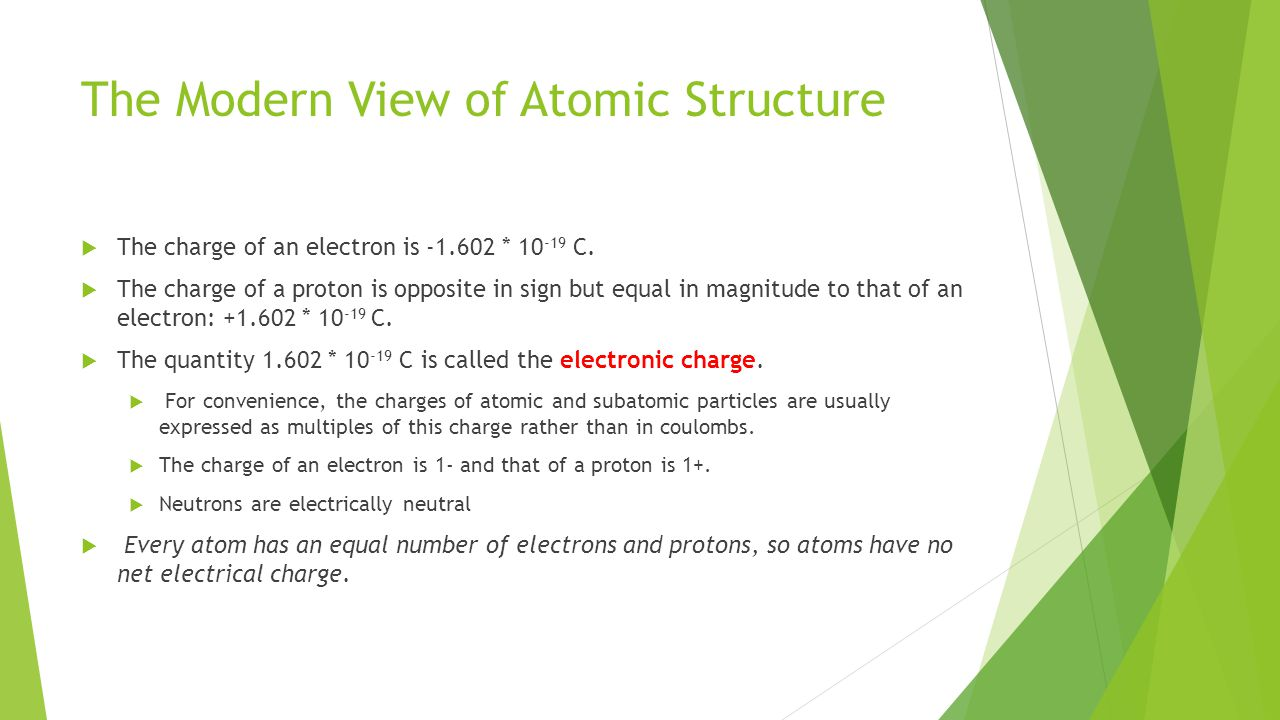 The Modern View of Atomic Structure  The charge of an electron is -1.602 * 10 -19 C.