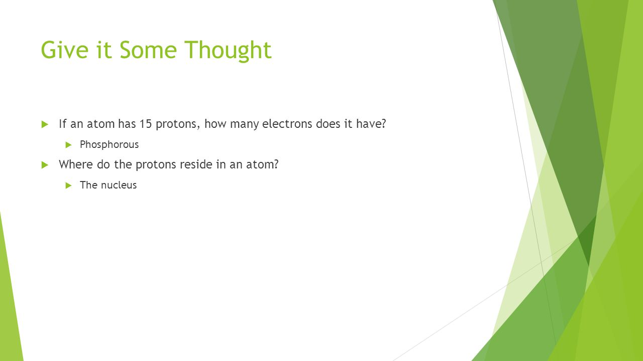 Give it Some Thought  If an atom has 15 protons, how many electrons does it have.