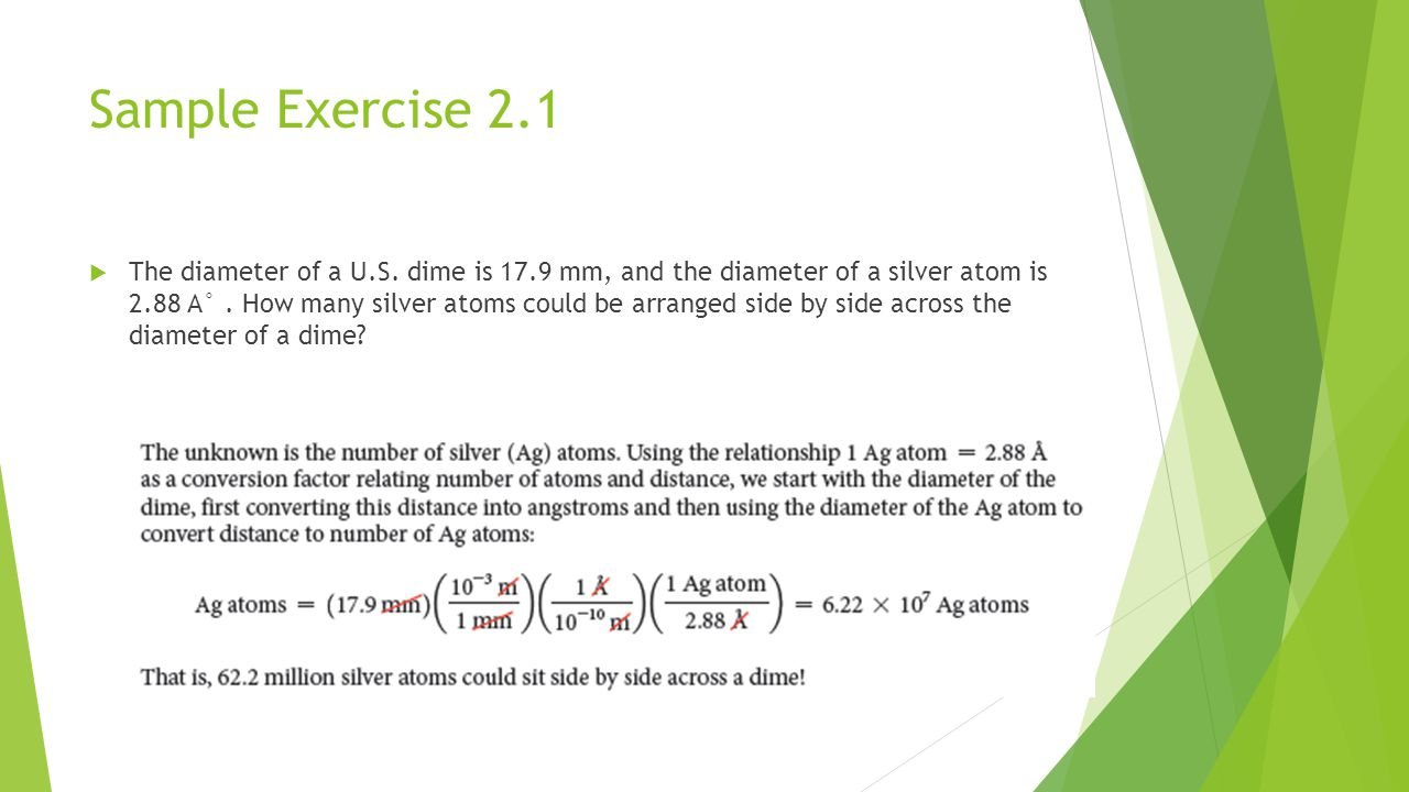 Sample Exercise 2.1  The diameter of a U.S.