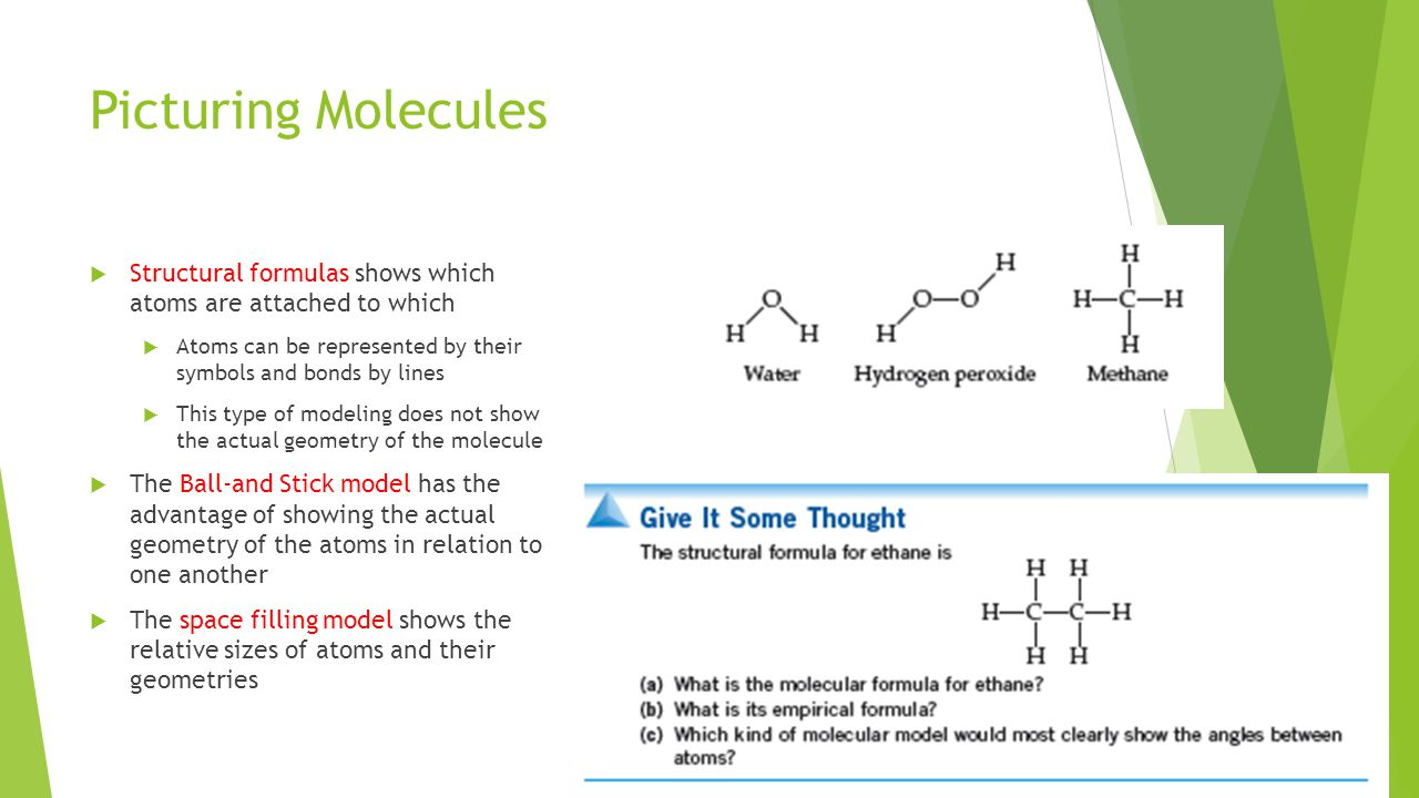 Picturing Molecules  Structural formulas shows which atoms are attached to which  Atoms can be represented by their symbols and bonds by lines  This type of modeling does not show the actual geometry of the molecule  The Ball-and Stick model has the advantage of showing the actual geometry of the atoms in relation to one another  The space filling model shows the relative sizes of atoms and their geometries