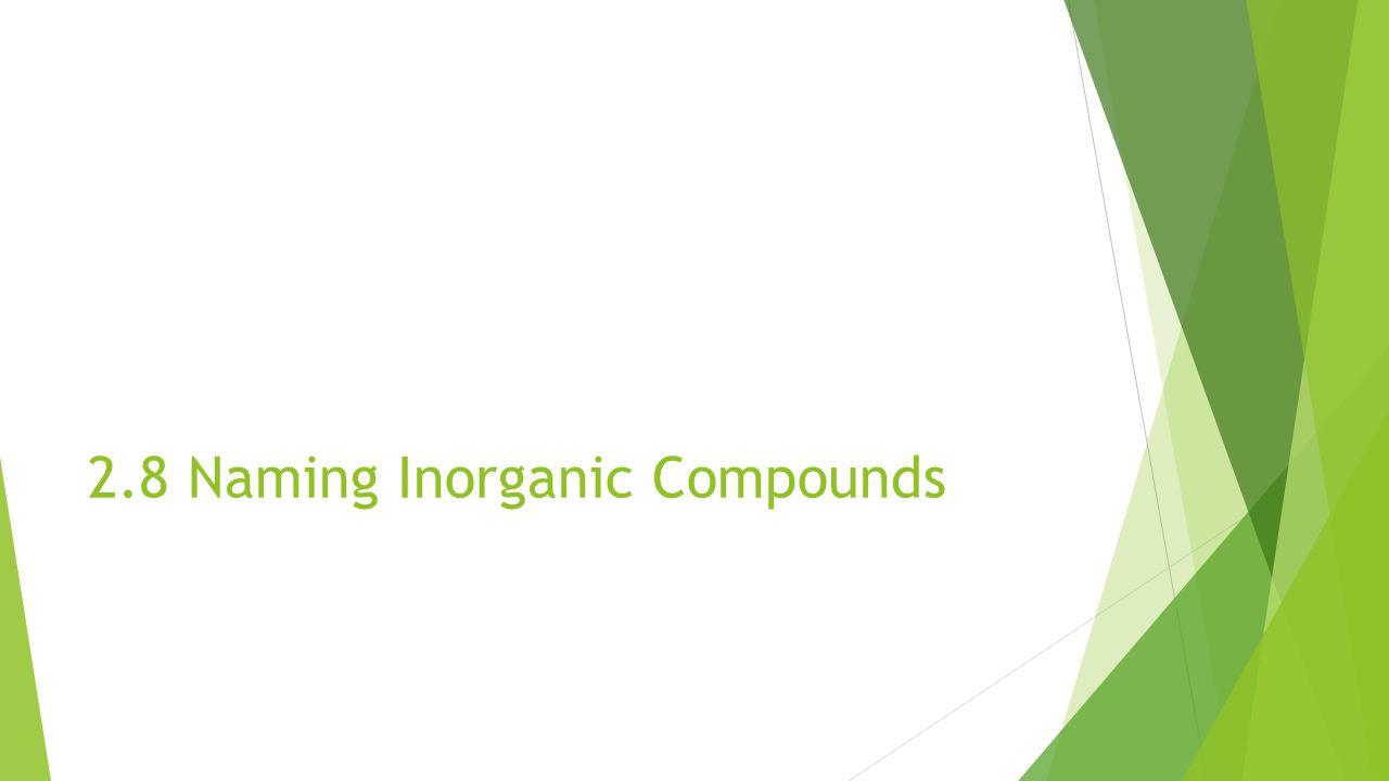 2.8 Naming Inorganic Compounds