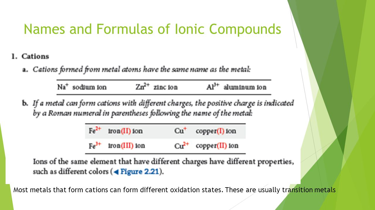 Names and Formulas of Ionic Compounds Most metals that form cations can form different oxidation states.
