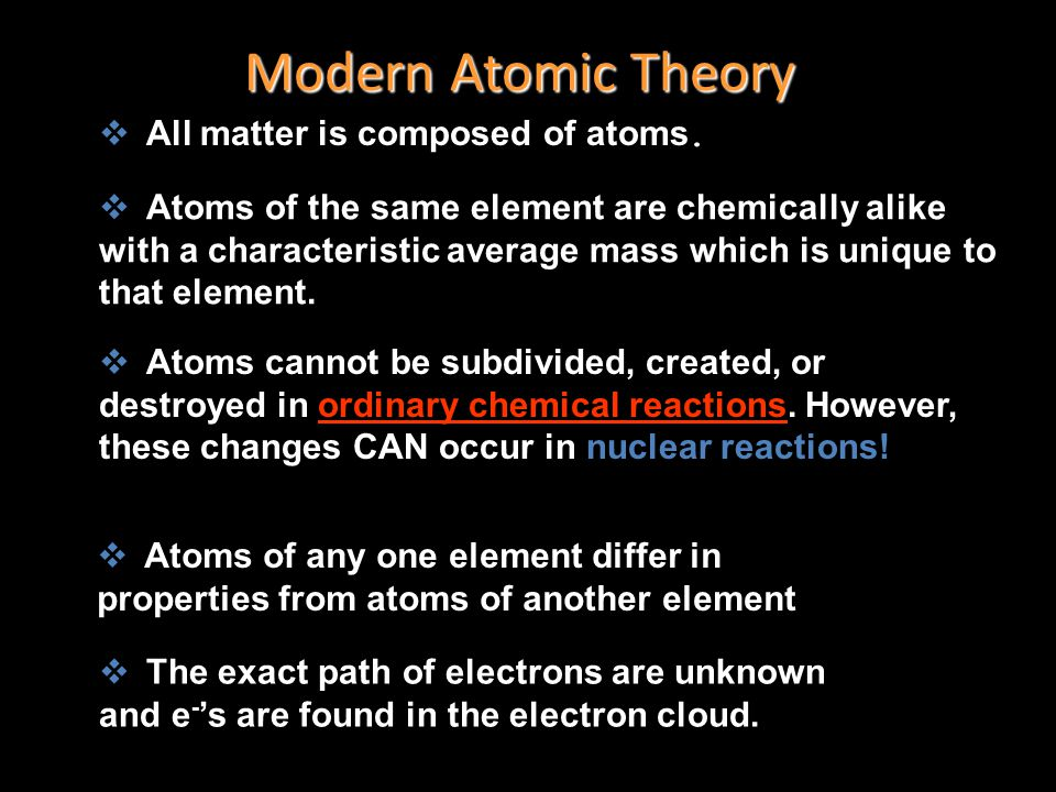 Quantum Mechanical Model Modern atomic theory describes the electronic structure of the atom as the probability of finding electrons within certain re