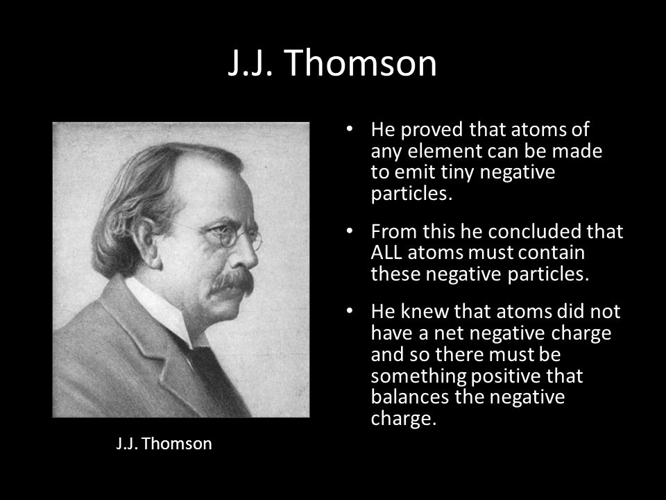 Discovery of the Electron In 1897, J.J. Thomson used a cathode ray tube to deduce the presence of a negatively charged particle. Cathode ray tubes pas