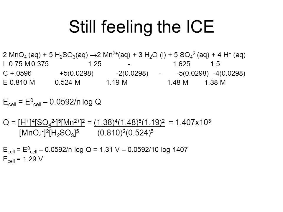 Still feeling the ICE 2 MnO 4 - (aq) + 5 H 2 SO 3 (aq)  2 Mn 2+ (aq) + 3 H 2 O (l) + 5 SO 4 2- (aq) + 4 H + (aq) I 0.75 M0.3751.25 -1.625 1.5 C +.0596+5(0.0298)-2(0.0298) - -5(0.0298) -4(0.0298) E 0.810 M 0.524 M 1.19 M 1.48 M 1.38 M E cell = E 0 cell – 0.0592/n log Q Q = [H + ] 4 [SO 4 2- ] 5 [Mn 2+ ] 2 = (1.38) 4 (1.48) 5 (1.19) 2 = 1.407x10 3 [MnO 4 - ] 2 [H 2 SO 3 ] 5 (0.810) 2 (0.524) 5 E cell = E 0 cell – 0.0592/n log Q = 1.31 V – 0.0592/10 log 1407 E cell = 1.29 V