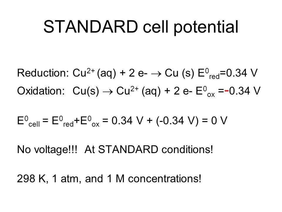 STANDARD cell potential Reduction: Cu 2+ (aq) + 2 e-  Cu (s) E 0 red =0.34 V Oxidation: Cu(s)  Cu 2+ (aq) + 2 e- E 0 ox = - 0.34 V E 0 cell = E 0 red +E 0 ox = 0.34 V + (-0.34 V) = 0 V No voltage!!.