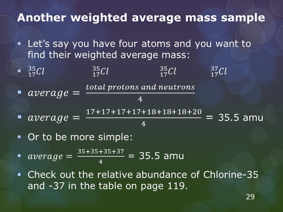 Another weighted average mass sample 29