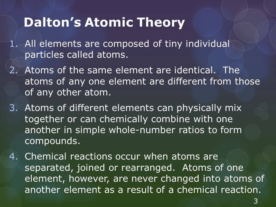 Dalton's Atomic Theory 1.All elements are composed of tiny individual particles called atoms. 2.Atoms of the same element are identical. The atoms of