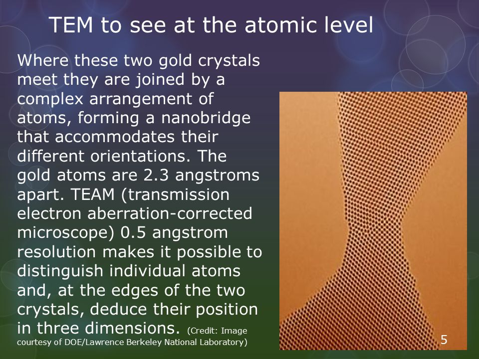 TEM to see at the atomic level Where these two gold crystals meet they are joined by a complex arrangement of atoms, forming a nanobridge that accommo