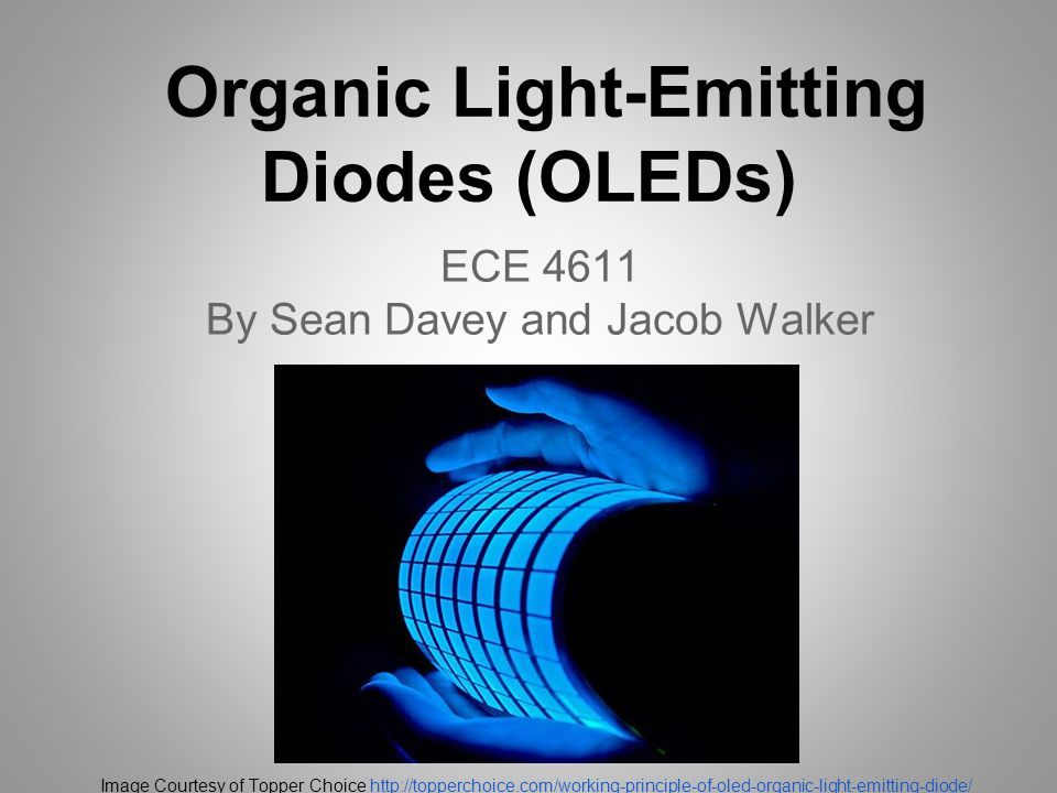 Organic Light-Emitting Diodes (OLEDs) ECE 4611 By Sean Davey and Jacob Walker Image Courtesy of Topper Choice http://topperchoice.com/working-principle-of-oled-organic-light-emitting-diode/http://topperchoice.com/working-principle-of-oled-organic-light-emitting-diode/