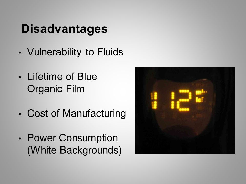 Disadvantages Vulnerability to Fluids Lifetime of Blue Organic Film Cost of Manufacturing Power Consumption (White Backgrounds)