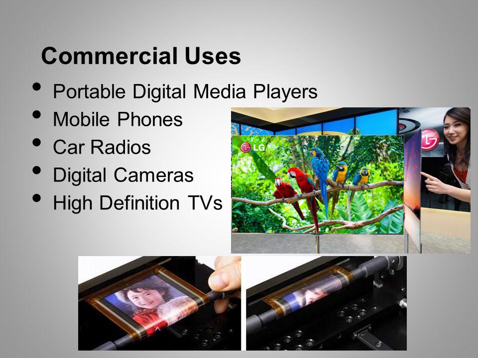 Commercial Uses Portable Digital Media Players Mobile Phones Car Radios Digital Cameras High Definition TVs