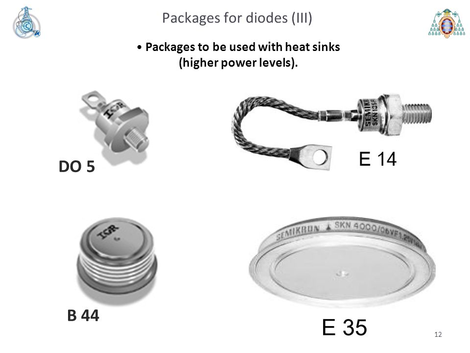 12 Packages for diodes (III) Packages to be used with heat sinks (higher power levels). B 44 DO 5