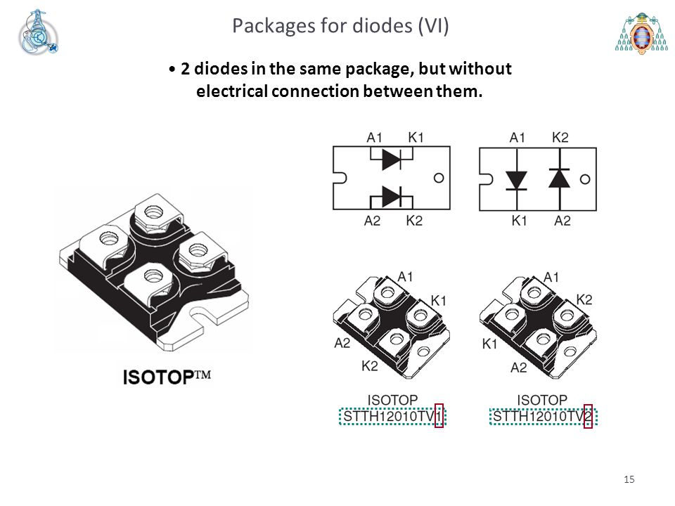 15 Packages for diodes (VI) 2 diodes in the same package, but without electrical connection between them.