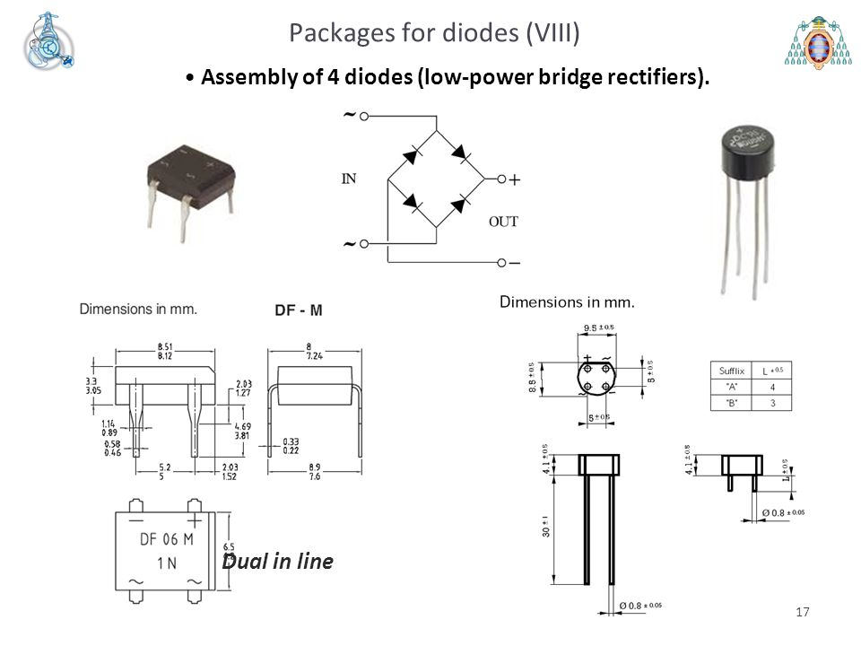 17 Packages for diodes (VIII) Assembly of 4 diodes (low-power bridge rectifiers). Dual in line