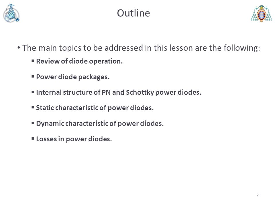 5 Review of PN-diode operation (I) Modern diodes are based either on PN or Metal-semiconductor (MS) junctions.