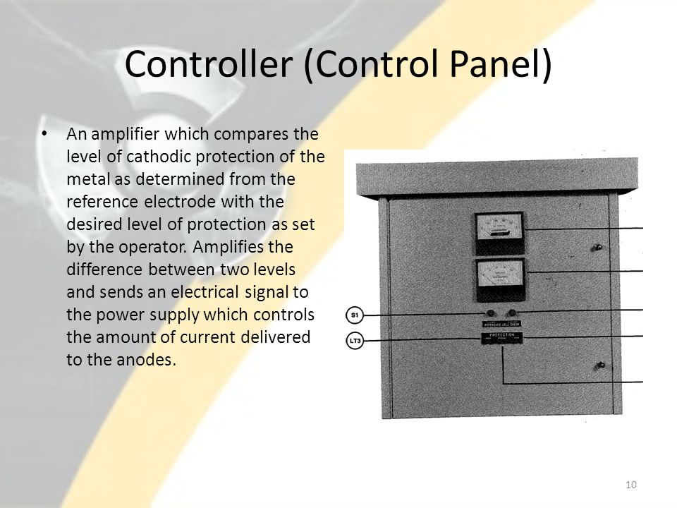 Controller (Control Panel) An amplifier which compares the level of cathodic protection of the metal as determined from the reference electrode with t
