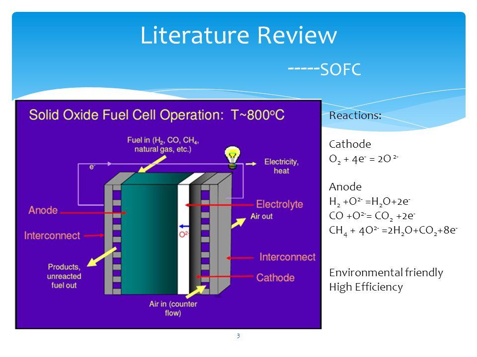 Literature Review ----- SOFC Reactions: Cathode O 2 + 4e - = 2O 2- Anode H 2 +O 2- =H 2 O+2e - CO +O 2- = CO 2 +2e - CH 4 + 4O 2- =2H 2 O+CO 2 +8e - Environmental friendly High Efficiency 3
