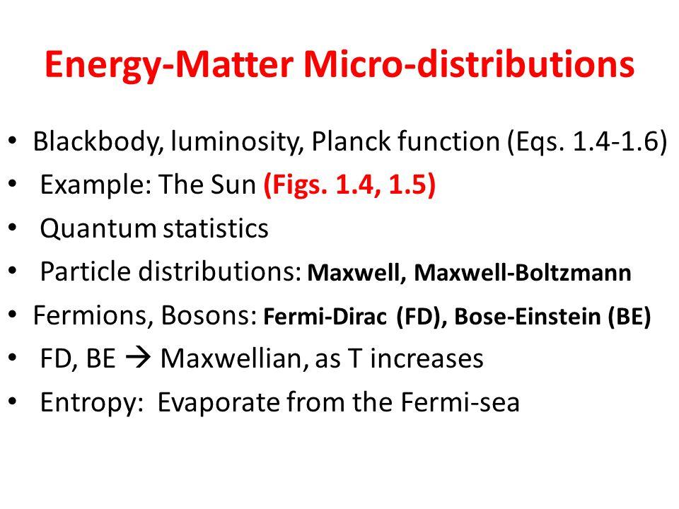 Energy-Matter Micro-distributions Blackbody, luminosity, Planck function (Eqs.