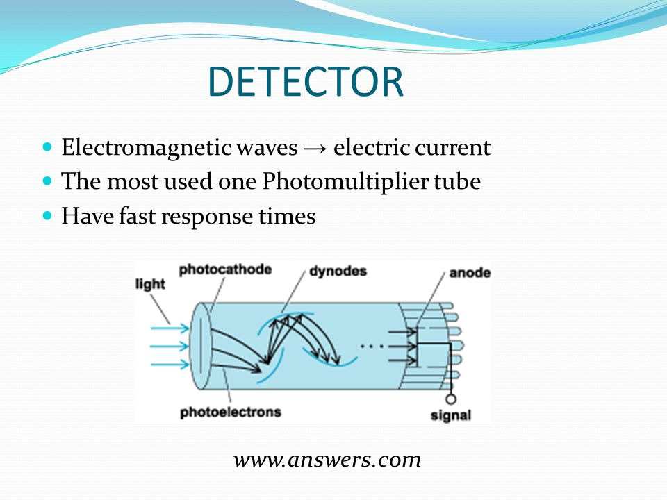 DETECTOR Electromagnetic waves → electric current The most used one Photomultiplier tube Have fast response times www.answers.com