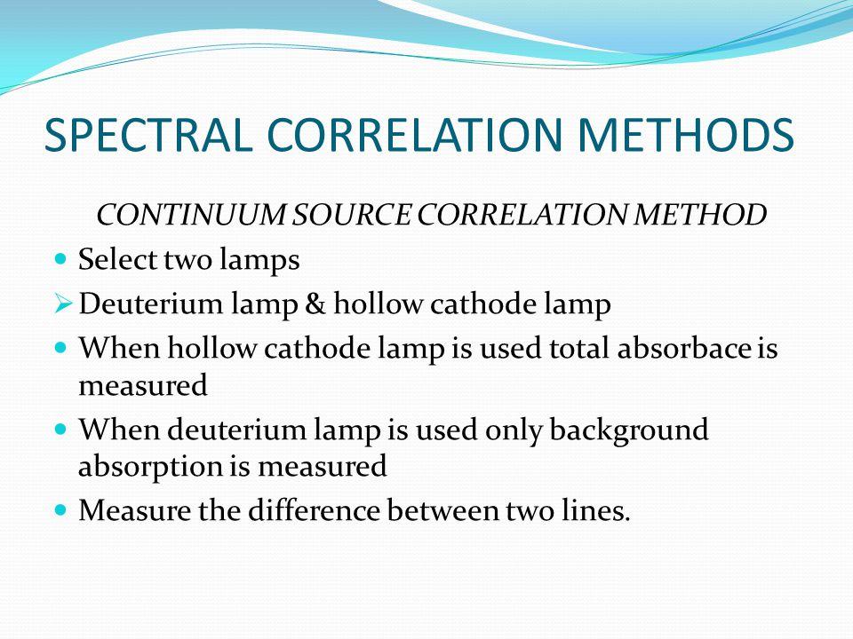 SPECTRAL CORRELATION METHODS CONTINUUM SOURCE CORRELATION METHOD Select two lamps  Deuterium lamp & hollow cathode lamp When hollow cathode lamp is u