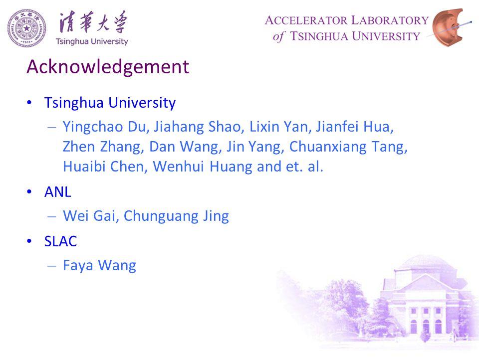 Acknowledgement Tsinghua University – Yingchao Du, Jiahang Shao, Lixin Yan, Jianfei Hua, Zhen Zhang, Dan Wang, Jin Yang, Chuanxiang Tang, Huaibi Chen, Wenhui Huang and et.