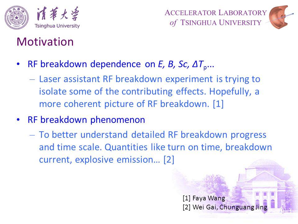 Motivation RF breakdown dependence on E, B, Sc, ΔT p...
