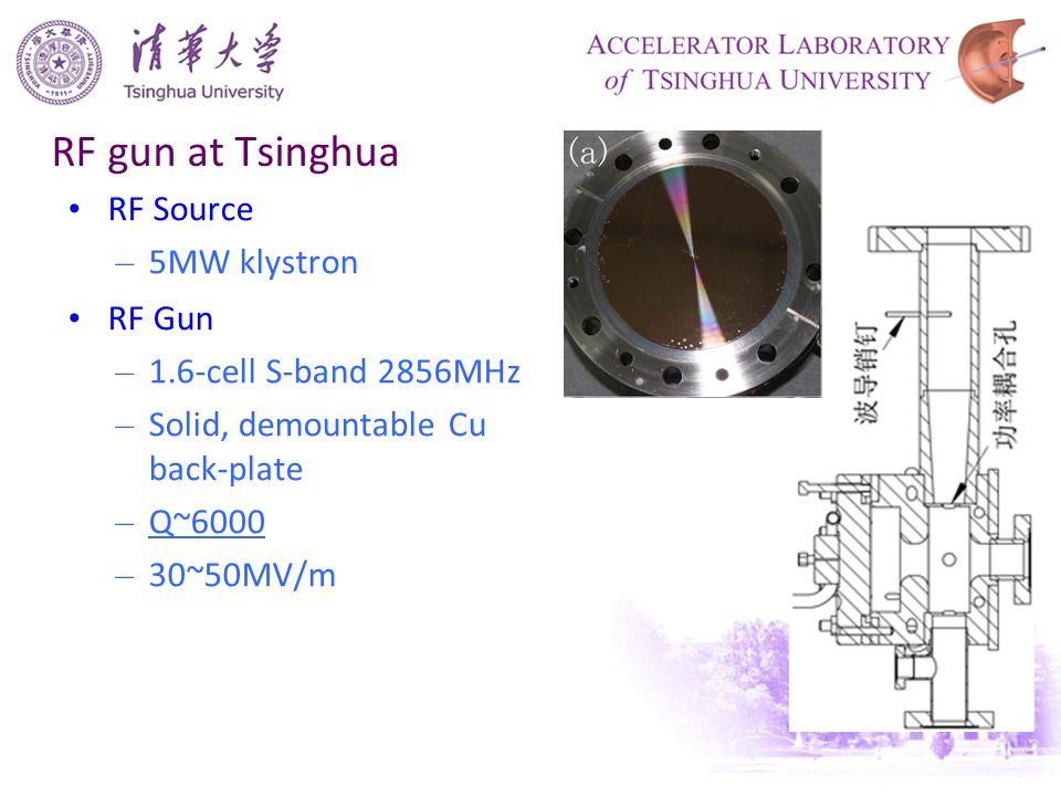 RF gun at Tsinghua RF Source – 5MW klystron RF Gun – 1.6-cell S-band 2856MHz – Solid, demountable Cu back-plate – Q~6000 – 30~50MV/m