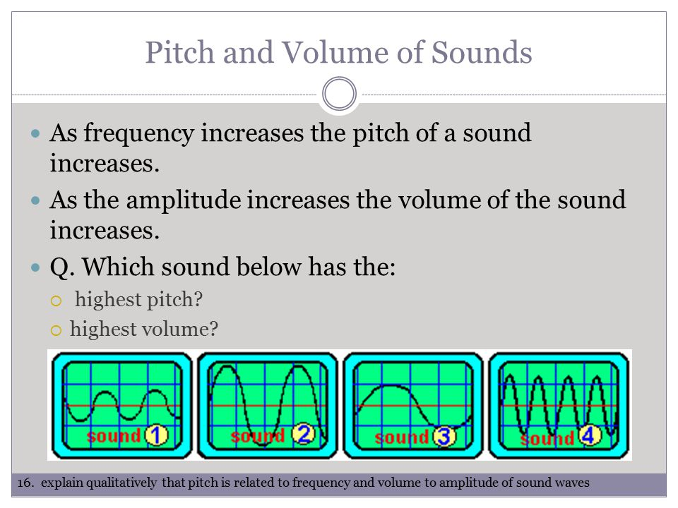 Pitch and Volume of Sounds As frequency increases the pitch of a sound increases.