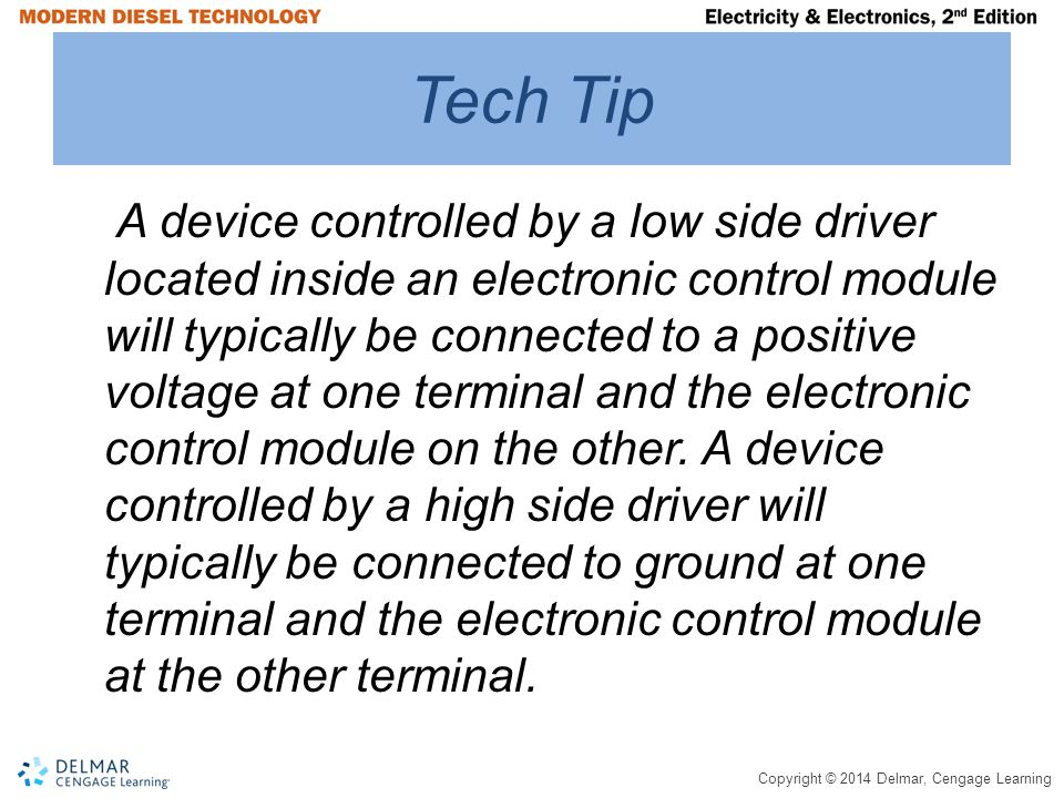 Copyright © 2014 Delmar, Cengage Learning Tech Tip A device controlled by a low side driver located inside an electronic control module will typically