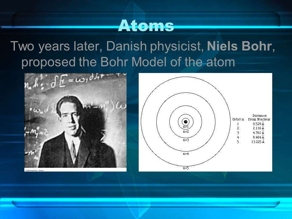 Atoms Two years later, Danish physicist, Niels Bohr, proposed the Bohr Model of the atom