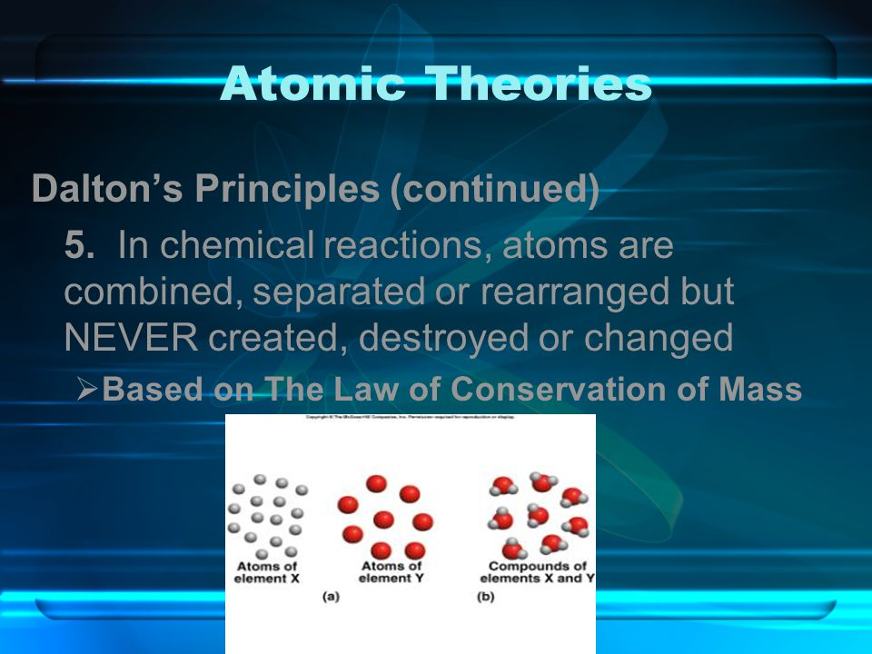 Atomic Theories Dalton's Principles (continued) 5. In chemical reactions, atoms are combined, separated or rearranged but NEVER created, destroyed or