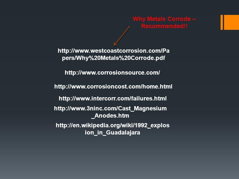 http://www.corrosionsource.com/ http://www.intercorr.com/failures.html http://www.corrosioncost.com/home.html http://www.westcoastcorrosion.com/Pa per