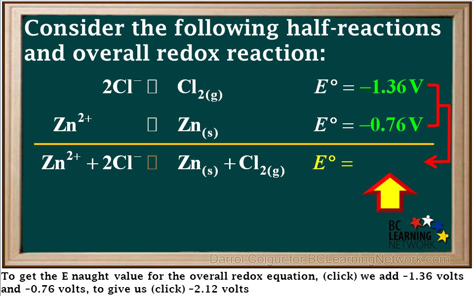 To get the E naught value for the overall redox equation, (click) we add –1.36 volts and –0.76 volts, to give us (click) –2.12 volts Consider the foll