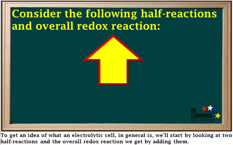 We'll start with the half-reaction we get by reversing the reduction of chlorine on the table, to get the (click) oxidation of chloride ions Consider the following half-reactions and overall redox reaction: