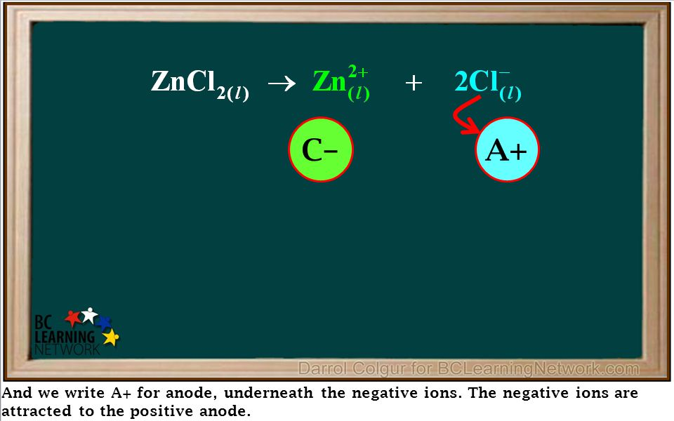 And we write A+ for anode, underneath the negative ions. The negative ions are attracted to the positive anode. Reduction at Cathode Oxidation at Anod