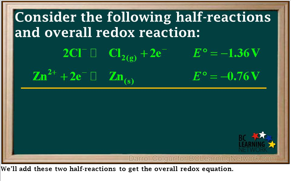 We'll add these two half-reactions to get the overall redox equation. Consider the following half-reactions and overall redox reaction: