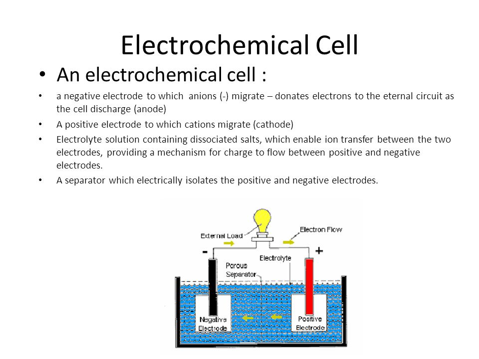 Electrochemical Cell An electrochemical cell : a negative electrode to which anions (-) migrate – donates electrons to the eternal circuit as the cell