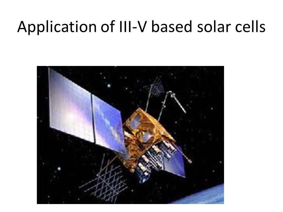 Application of III-V based solar cells