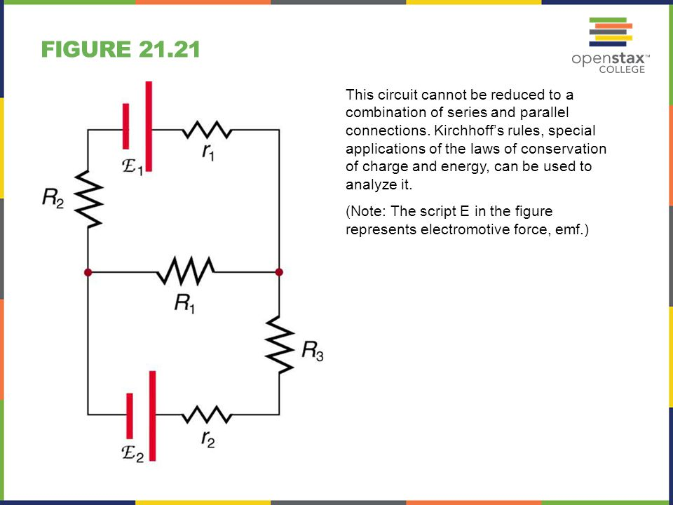 FIGURE 21.21 This circuit cannot be reduced to a combination of series and parallel connections. Kirchhoff's rules, special applications of the laws o
